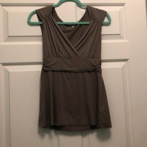green/grey wrap front blouse